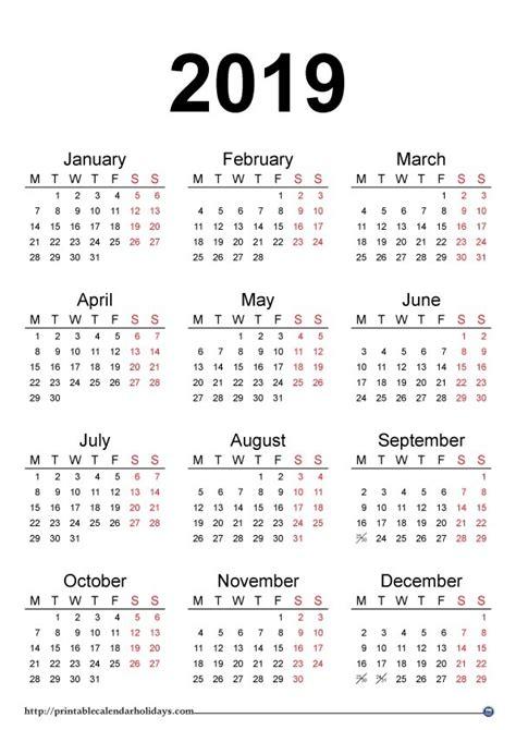 monthly calendar 2019 printable calendar 2019 with holidays journalingsage
