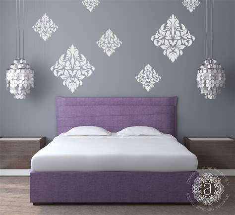 Wall Stickers For Bedroom damask wall decals wall decals for bedroom amandas