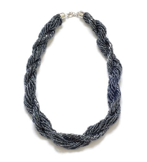 Black Multi Strand Beaded Statement Necklace On Luulla