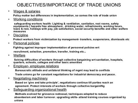 Objectives Of Trade Union Mba by Trade Unionism