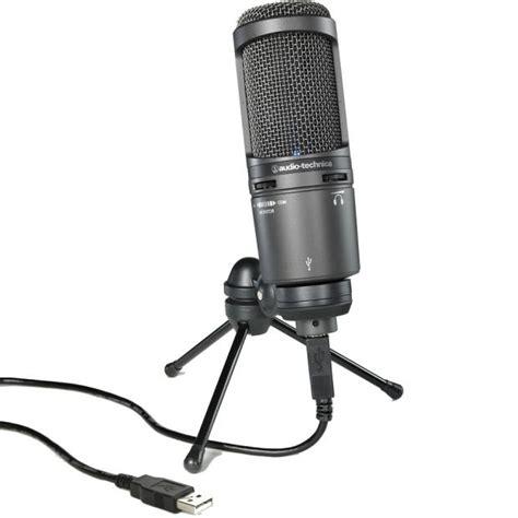 Audio Technica At2020 Cardioid Condenser Studio Microphone audio technica at2020 usb plus cardioid condenser usb microphone w monitor mix reverb