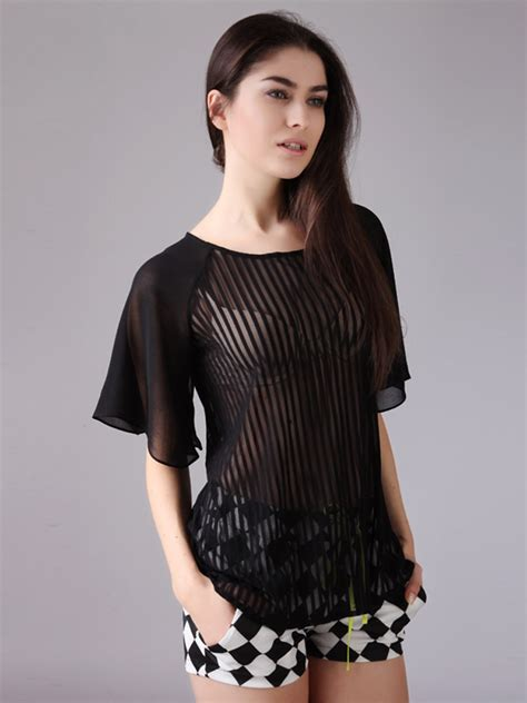 Holden Striped Sheer Sleeve Blouse by Transparent Black Shirt Is Shirt