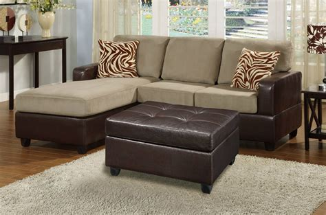 Brown Fabric Sectional Sofa Poundex Ellie F7669 Brown Fabric Sectional Sofa And Ottoman A Sofa Furniture Outlet Los