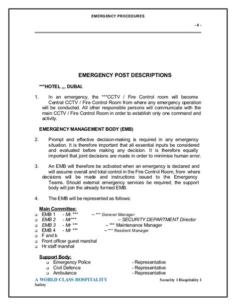 emergency room procedures emergency evocation plan