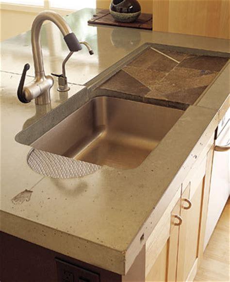 undermount concrete countertop kitchen sinks with drainboard built in wow blog