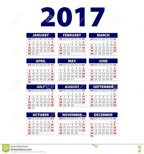 Calendario Por Semanas 2017 Para Imprimir Calend 225 2017 A Semana Parte De Domingo Vector O Molde