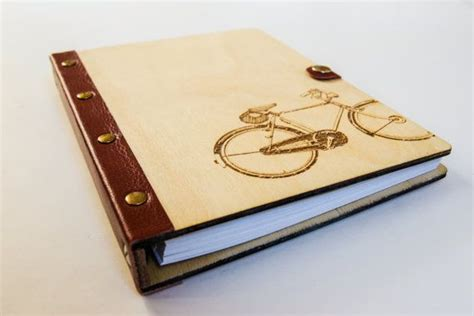sketchbook binder notebook wood cover leather with metal ring binder