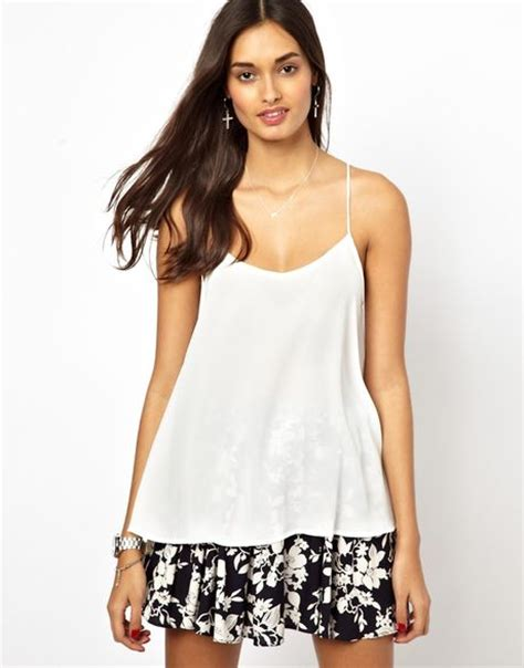 cami swing top glamorous swing cami top in white cream lyst