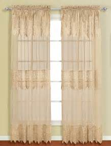 Lace Curtain Panels With Attached Valance Valerie Rod Pocket Panels With Attached Valance Taupe
