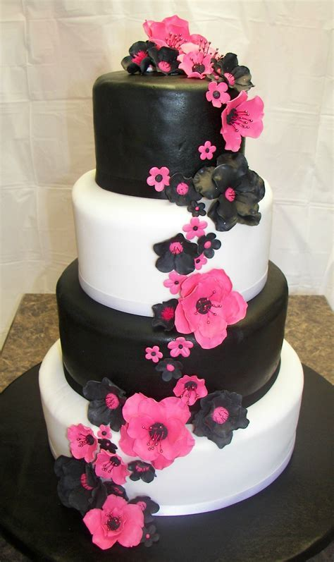 Hot Pink and Black Wedding   All gumpaste fantasy flowers