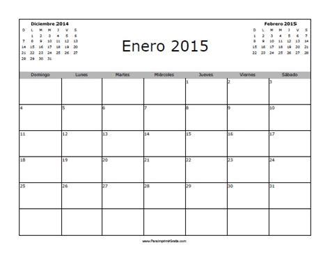 Calendario Enero 2015 Calendario Enero 2015 En Blanco Para Imprimir Gratis