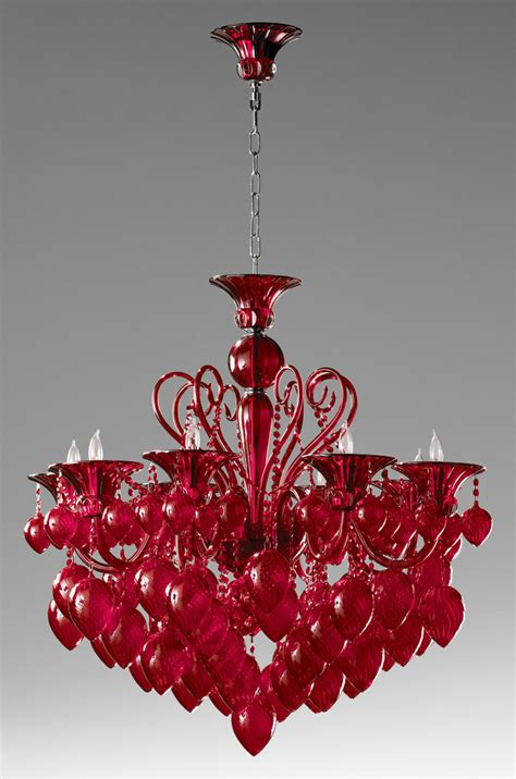 red chandeliers with varied lighting bella vetro red glass chandelier by cyan design
