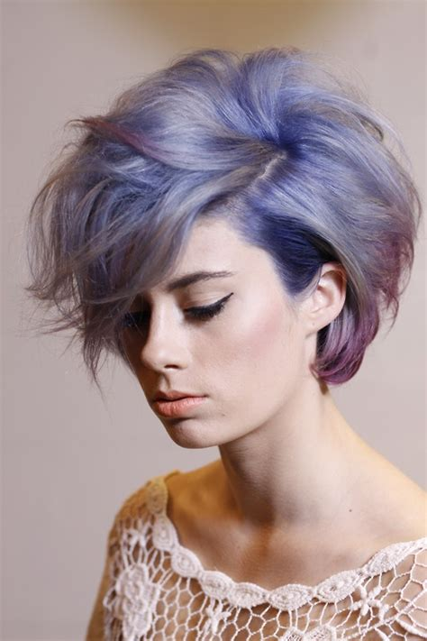 short hairstyles with dyed hair girl white blue short hair dyed hair anythingwentwrong
