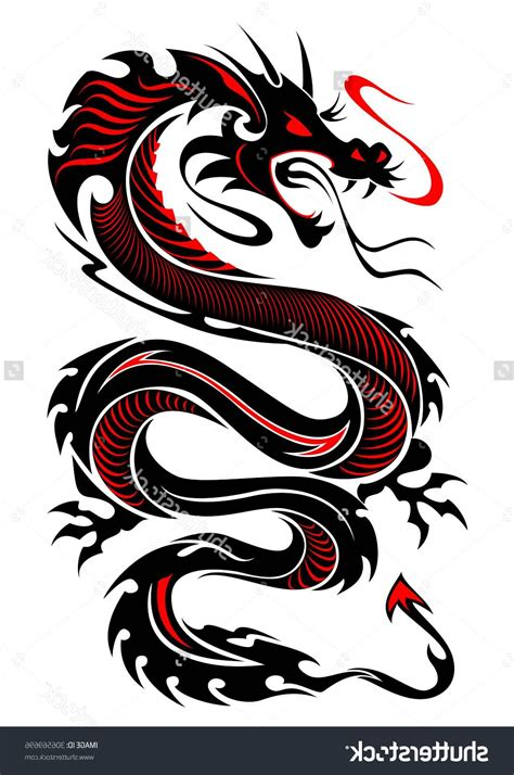 red and black dragon tattoo 10 colored tribal dragon