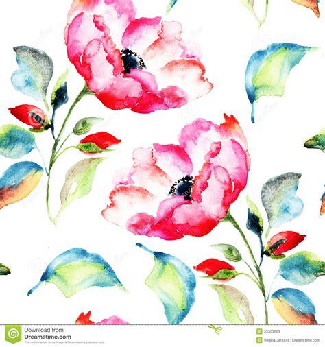 flower pattern painting rosehip flower seamless pattern stock illustration