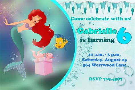 printable birthday invitations ariel ariel the little mermaid happy birthday party invitation