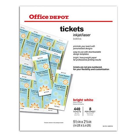 Inkjet Printable Tickets | office depot brand inkjetlaser tickets 5 12 x 2 18 bright