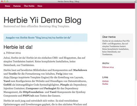 layout yii module demo herbie flat file cms blog