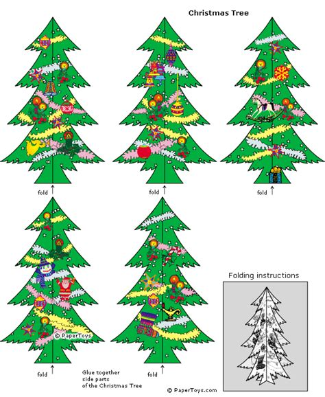 christmas tree paper cutouts by papertoys com