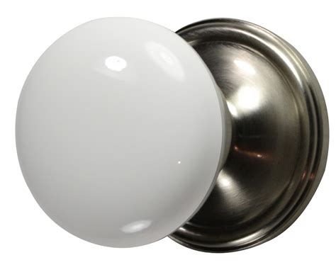 white porcelain door knob brushed nickel plate