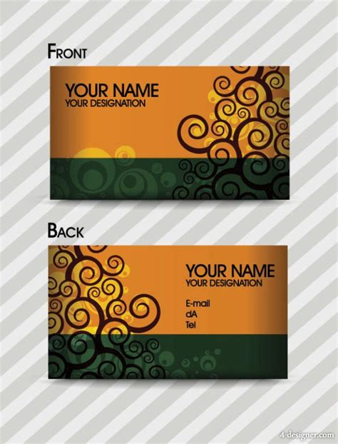 free vector fashion business card templates 4 designer fashion pattern business card template 03