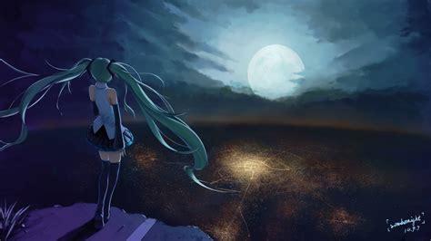 wallpaper anime girl alone anime character series beautiful girl vocaloid moon sky