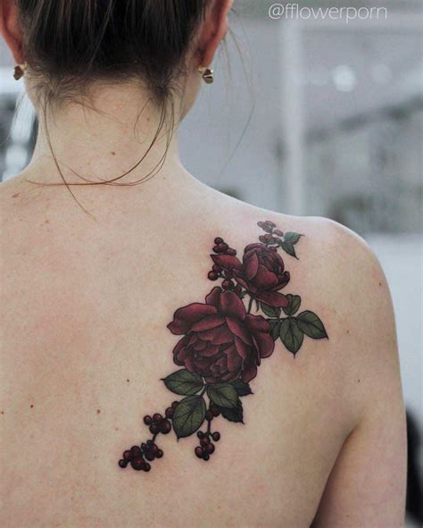 rose tattoo on the back on back shoulder best ideas gallery