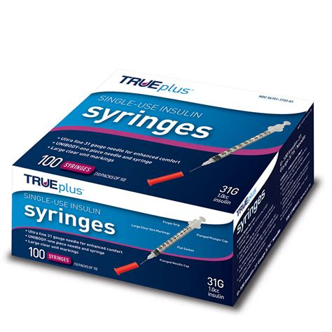 "TRUEplus U-100 Insulin Syringes 31G 1cc 5/16"" 100/box ... U 100 Insulin Syringes"