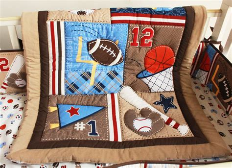 Sports Crib Bedding Set by Baseball Sports Brown Baby Crib Bedding Set Embroidered 3d