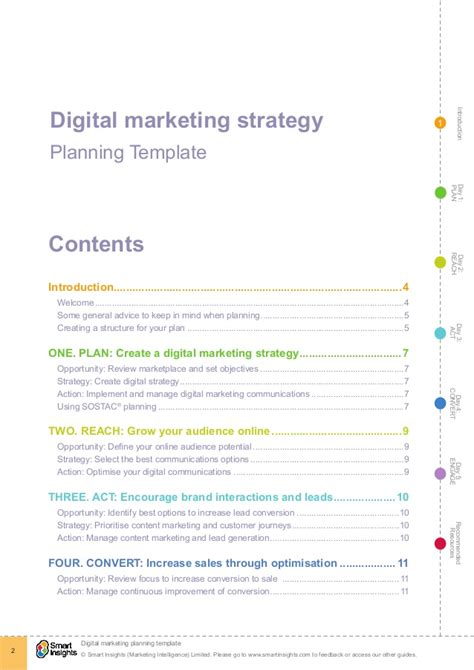 Digital Marketing Plan Template Smart Insights Digital Marketing Strategy Template