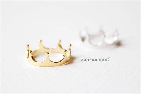 crown ring tiara ring gold white gold open