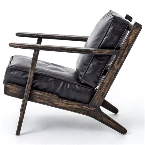 oak armchair rider mid century modern oak black leather armchair