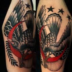 traditional crow tattoo black bird crescent moon by al boy
