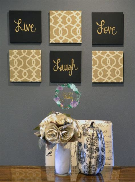 live laugh wall pack of 6 canvas wall hangings