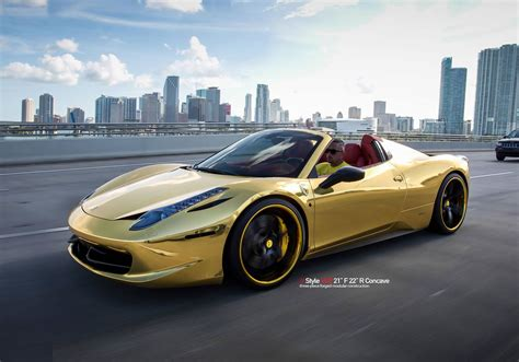 gold ferrari wallpaper gold ferrari 458 spider with vellano wheels front photo