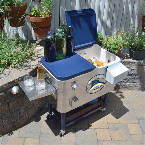 tommy bahama stainless steel cooler on wheels tommy bahama 100 quart 94l stainless steel rolling cool