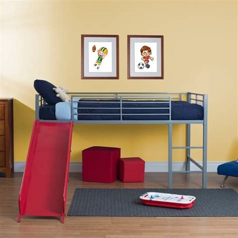 Metal Bunk Bed With Slide Metal Loft Slide Bed In Silver And 5513298