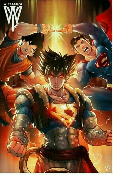 T Shirt Tekken Coklat Dtg Digital Print goku superman fusion strength goku and comic