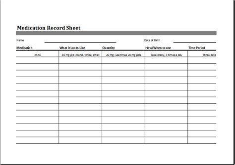 Medication Record Sheet Business Letter Template Medication Log Template Excel
