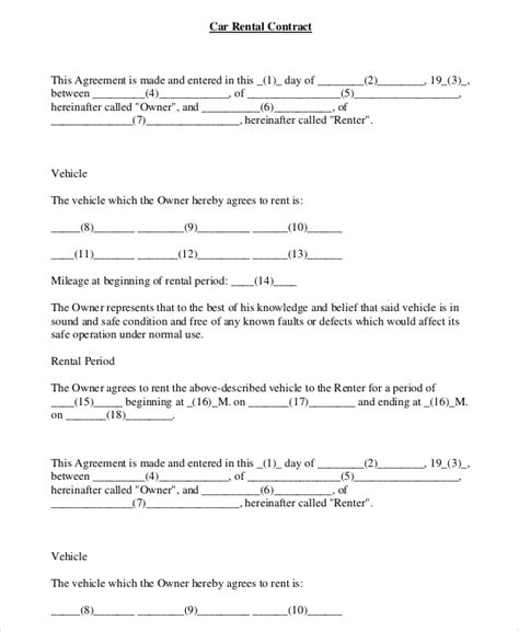 Car Rental Agreement Contract Car Rental Agreement 8 Free Word Pdf Documents