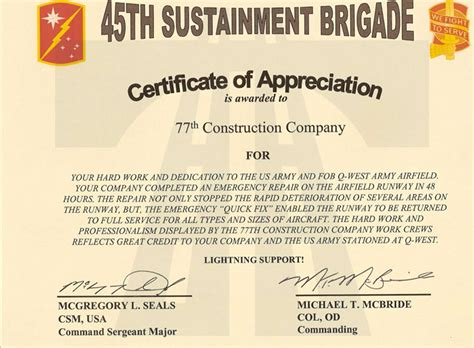 a certificate of appreciation 77 construction oil and gas division