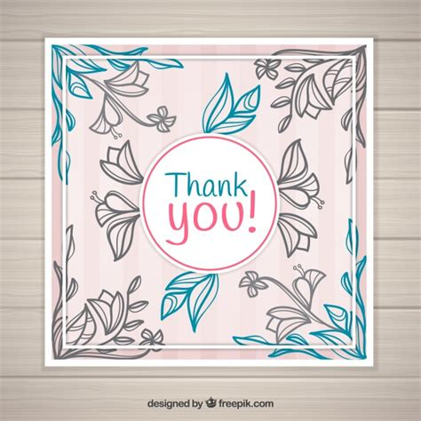 vintage thank you card vintage floral thank you card vector free download