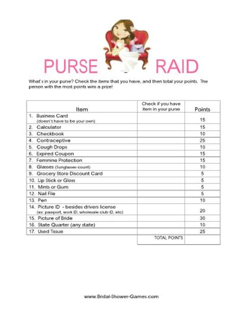 printable bridal shower purse scavenger hunt printable what s in your purse game classic weddings