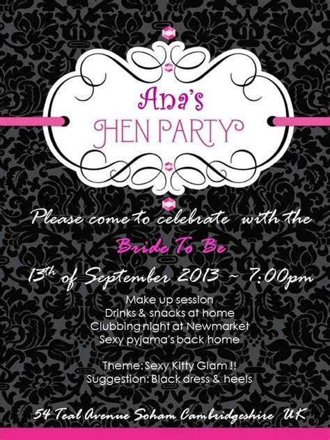 hen night invitation megan hens pinterest