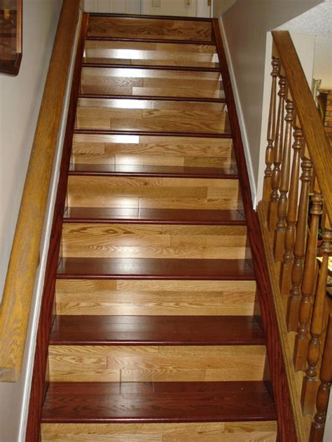 two toned hardwood stairs.   Hardwood floors   Pinterest