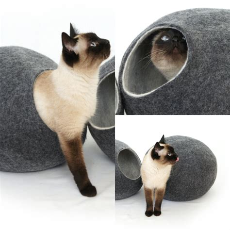 Handmade Cat Bed - cat bed house cave 100 handmade from sheep wool