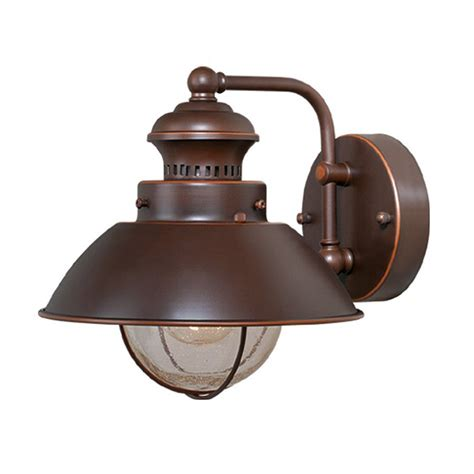 Outdoor Light Sconces Shop Cascadia Lighting Nautical 8 In H Burnished Bronze Outdoor Wall Light At Lowes