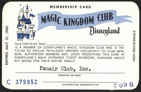 membership card template vintage disneyland tickets magic kingdom club membership