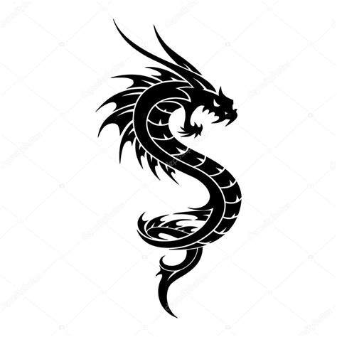 tattoo dragon vector tribal illustration stock vector