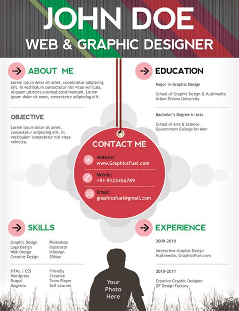 11 psd one page resume templates designbump